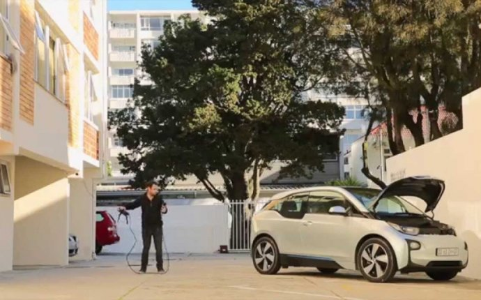 Safe and unsafe guerrilla electric car charging at apartment